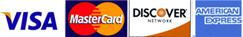 We Accept Visa, Mastercard, American Express & Discover